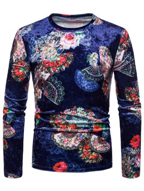 Flower Print Velvet T-shirt - multicolor A L