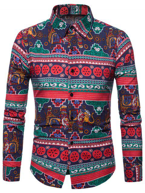 Paisley Elephant Printed Casual Shirt - multicolor A 2XL