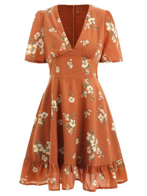 Plunge Neck Floral Dress - RUST M