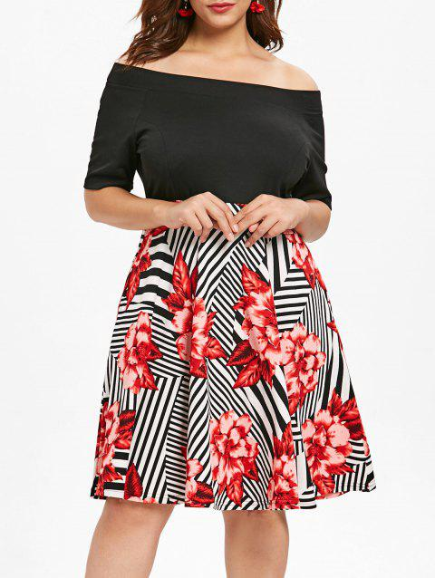 Plus Size Print Panel Vintage Dress - BLACK 5X