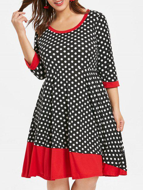 Plus Size Vintage Polka Dot Dress - BLACK 3X