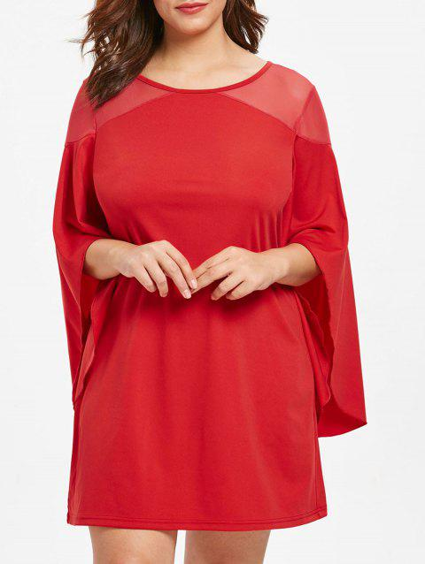 Plus Size Flare Sleeve Mesh Panel Dress - RED 4X