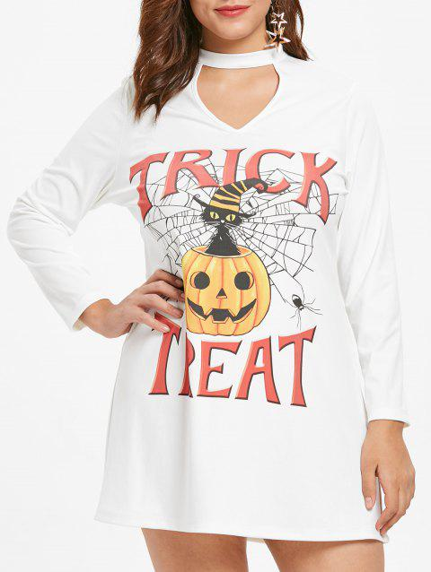 Plus Size Cut Out Halloween Pumpkin Dress - WHITE 1X