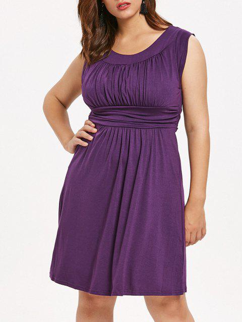 Sleeveless Plus Size Scoop Neck Knee Length Dress - PURPLE 2X