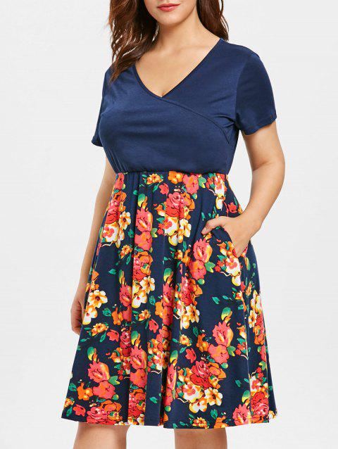 Plus Size Floral Print Short Sleeve Fit and Flare Dress - CADETBLUE L