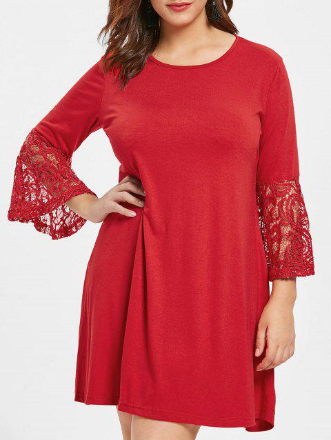 Plus Size Flare Sleeve Round Neck Shift Dress - RED 1X