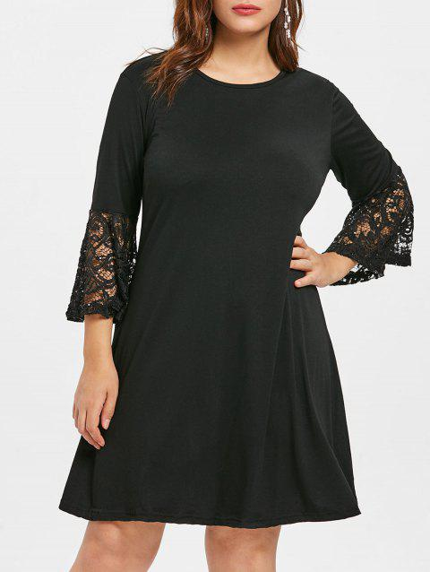 Plus Size Flare Sleeve Round Neck Shift Dress - BLACK 2X