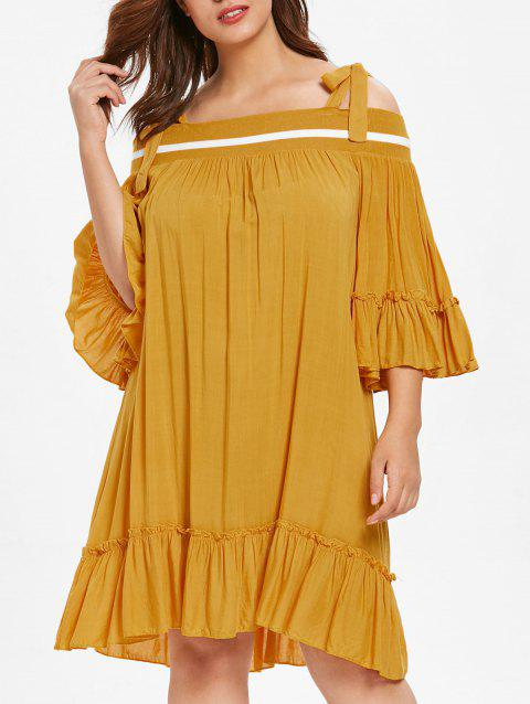 Plus Size Cold Shoulder Flare Sleeve Flounce Dress - YELLOW 1X