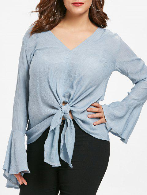 Plus Size Front Knot Bell Sleeve Top - GRAY 1X