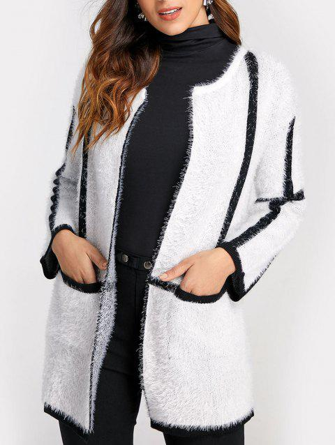 Color Block Long Fuzzy Cardigan - WHITE S