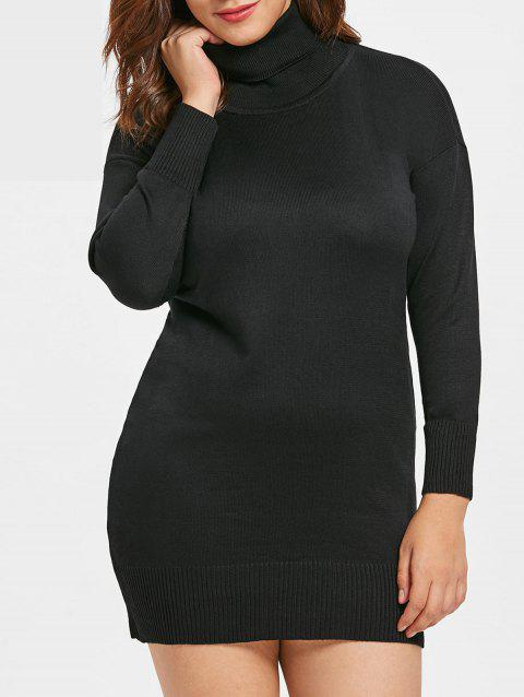 2018 Plus Size Ribbed Detail Tunic Dress Black X In Casual Dresses