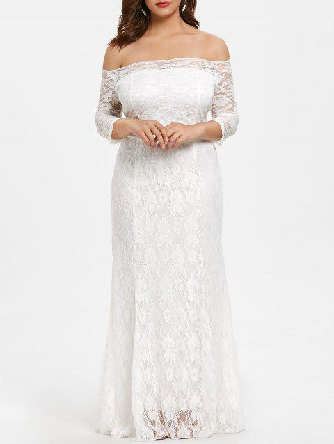 Scalloped Off The Shoulder Plus Size Lace Dress - WHITE 5X