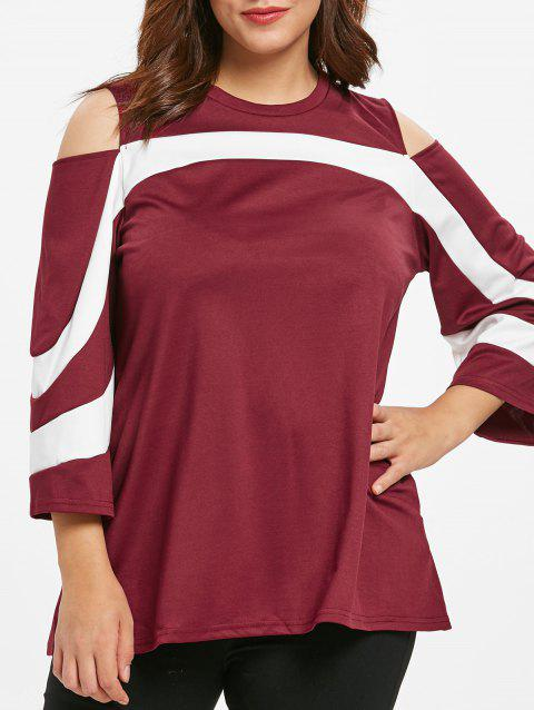 Round Neck Plus Size Two Tone T-shirt - RED WINE 1X