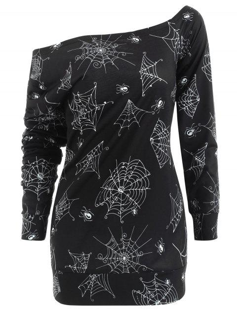 Halloween Spider Web Print Sweatshirt - BLACK 2XL