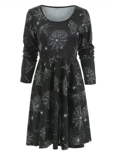Long Sleeve Halloween Spider Web Print Dress - BLACK M