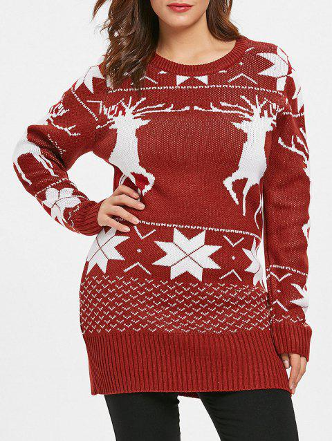 Plus Size Elk Christmas Sweater - RED WINE 1X