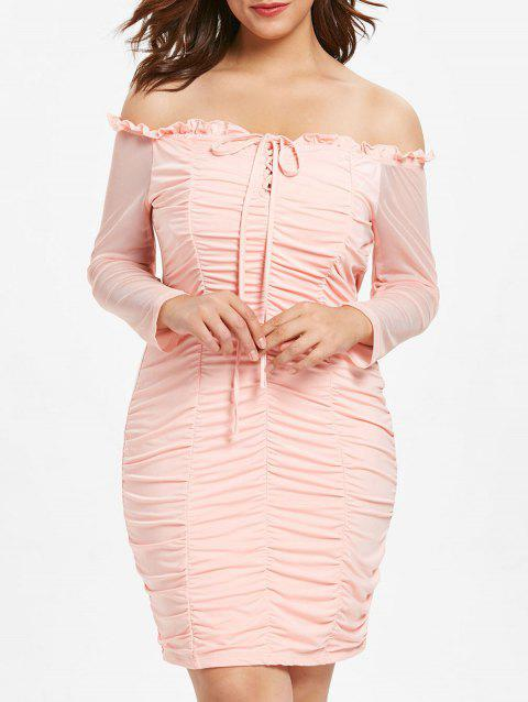 Plus Size Lace Up Mesh Ruched Bodycon Dress - LIGHT PINK L