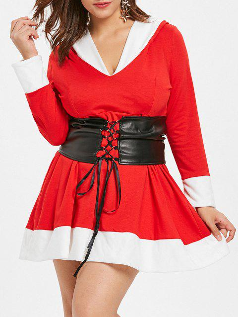 Plus Size Color Block Hooded Christmas Dress - RED L