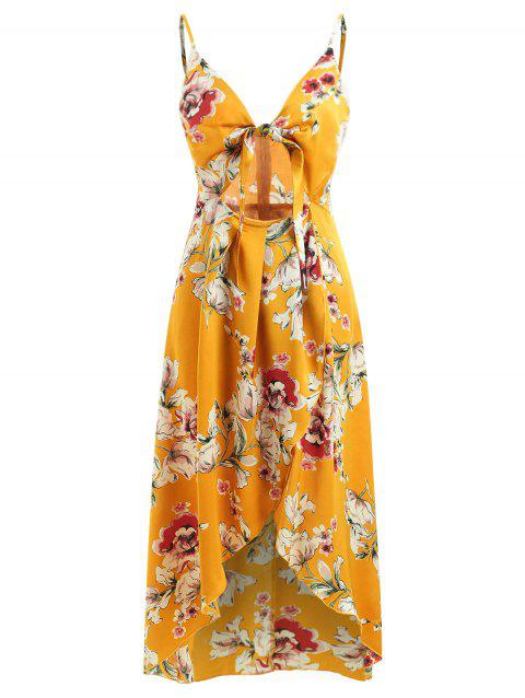 Knot Front Floral Print Dress - YELLOW M