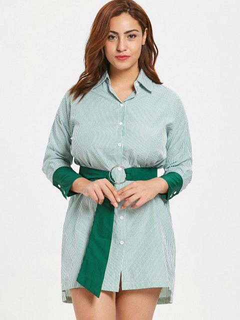 17% OFF] 2019 Plus Size Striped Button Up Shirt Dress In GREEN ...