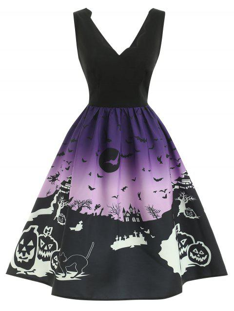 Halloween Print Sleeveless Dress - BLACK XL