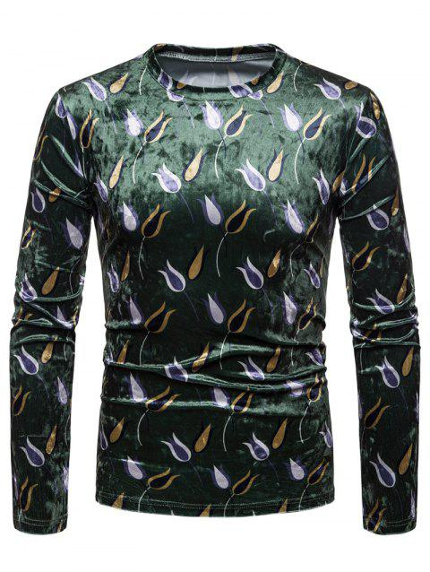 Tulip Print Velvet T-shirt - DEEP GREEN 2XL