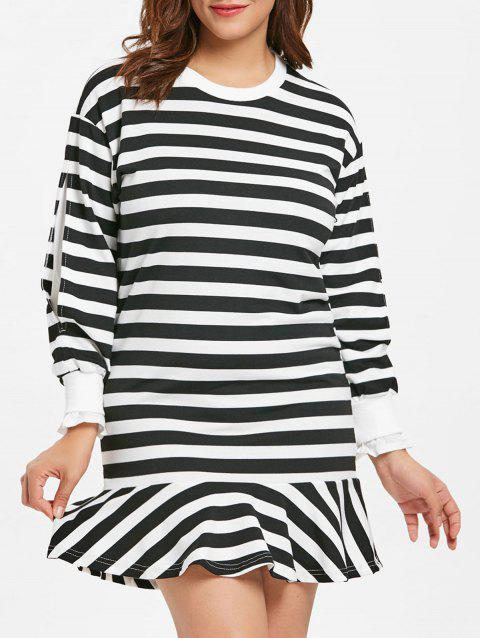 Plus Size Long Sleeve Striped Dress - multicolor 3X