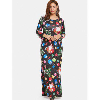 Christmas Plus Size Printed Long Dress - BLACK 1X