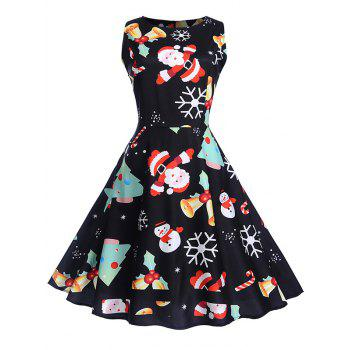 Christmas Vintage Print Fit and Flare Dress