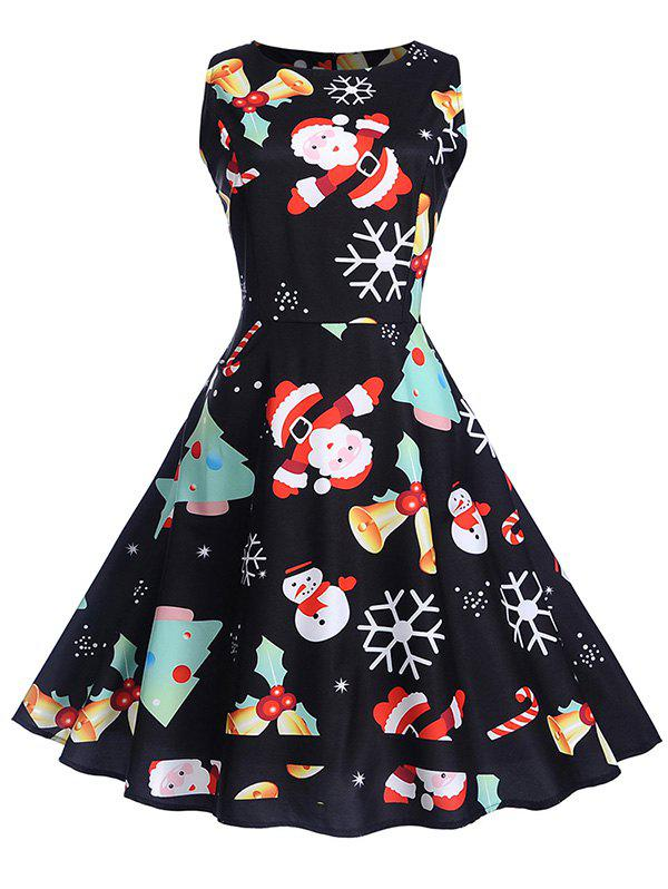 Christmas Vintage Print Fit and Flare Dress - BLACK 2XL