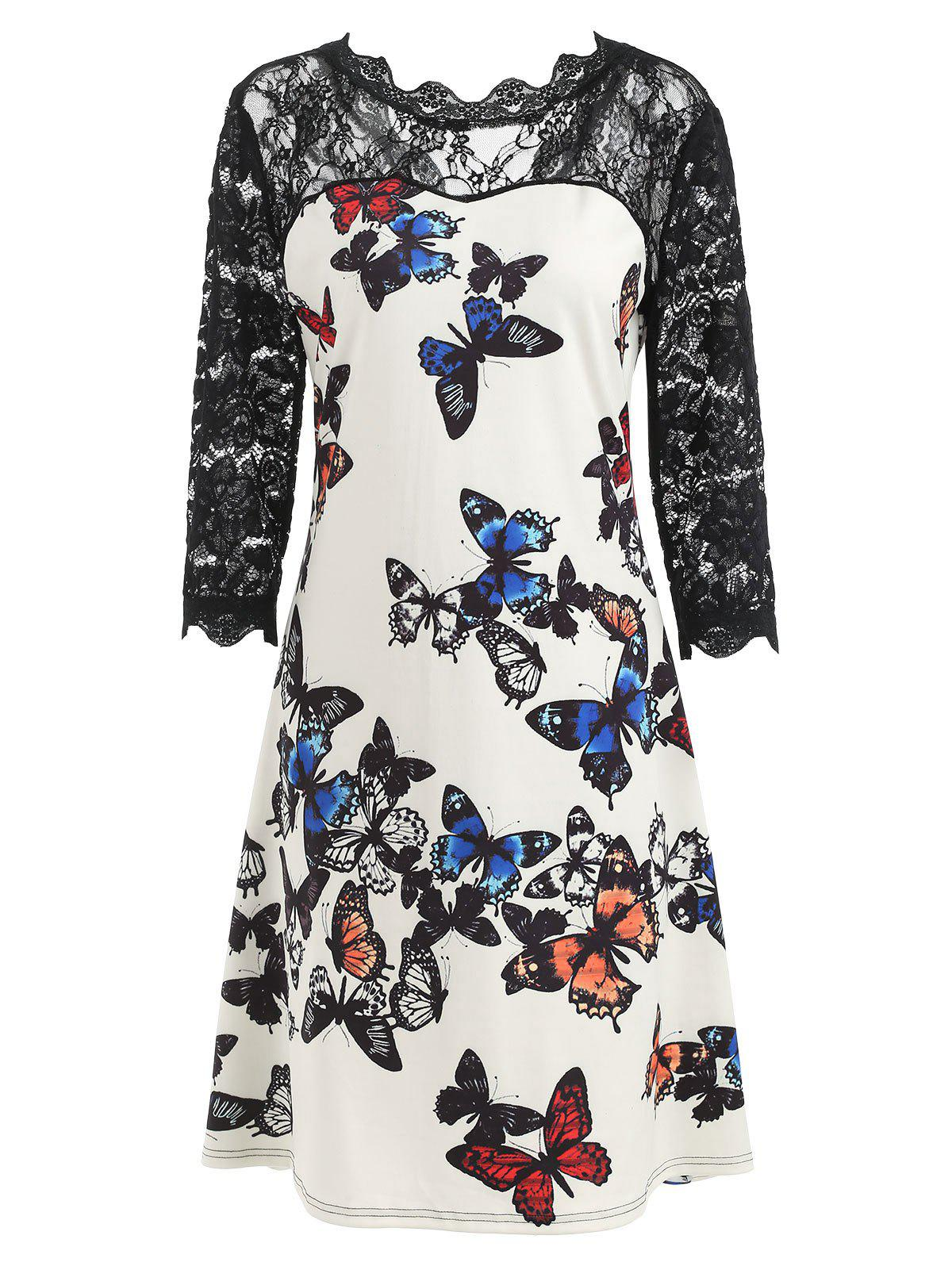 Lace Panel Butterflies Dress - WHITE M