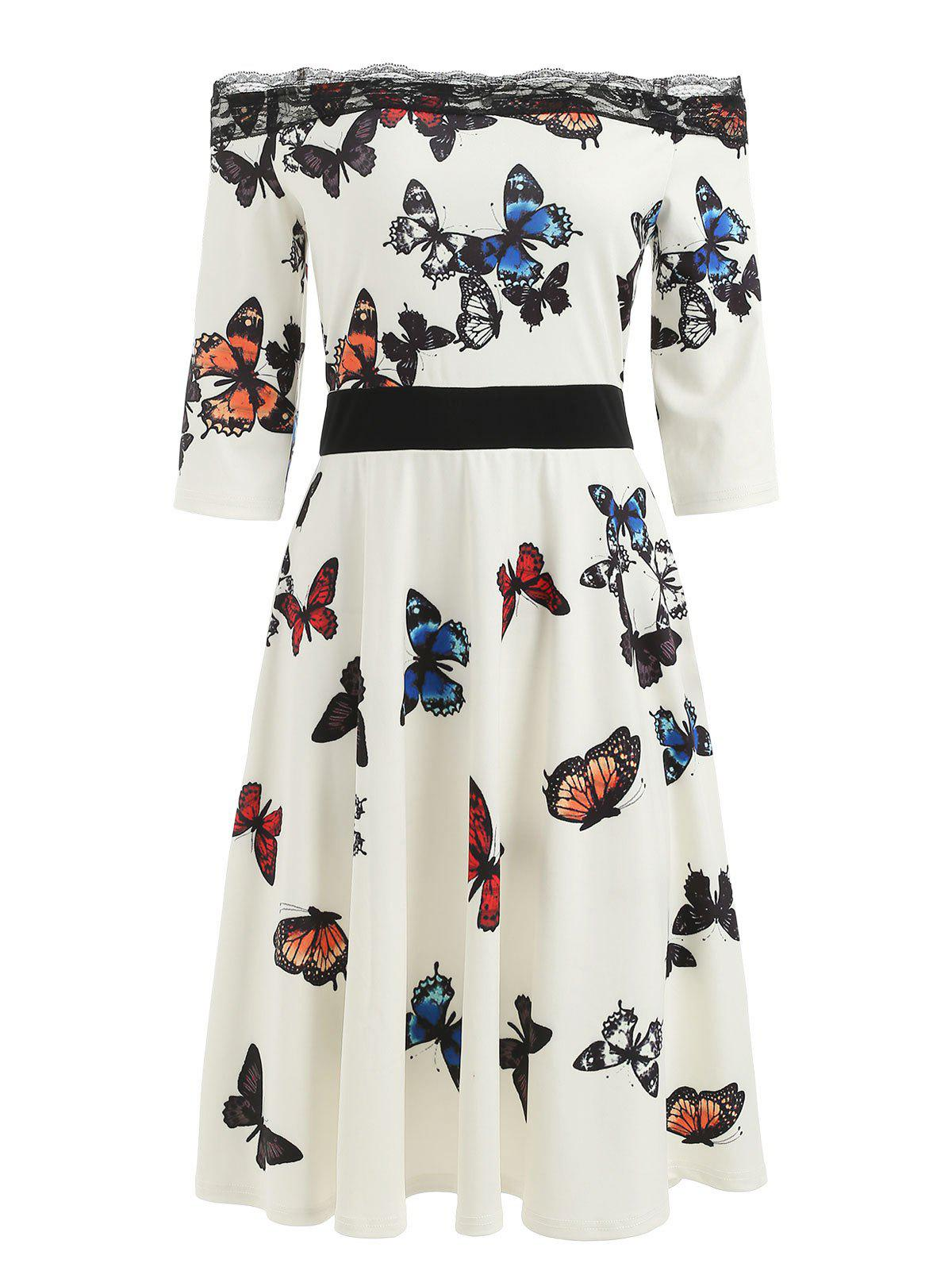 Butterflies Print Bare Shoulder Lace Trim Dress