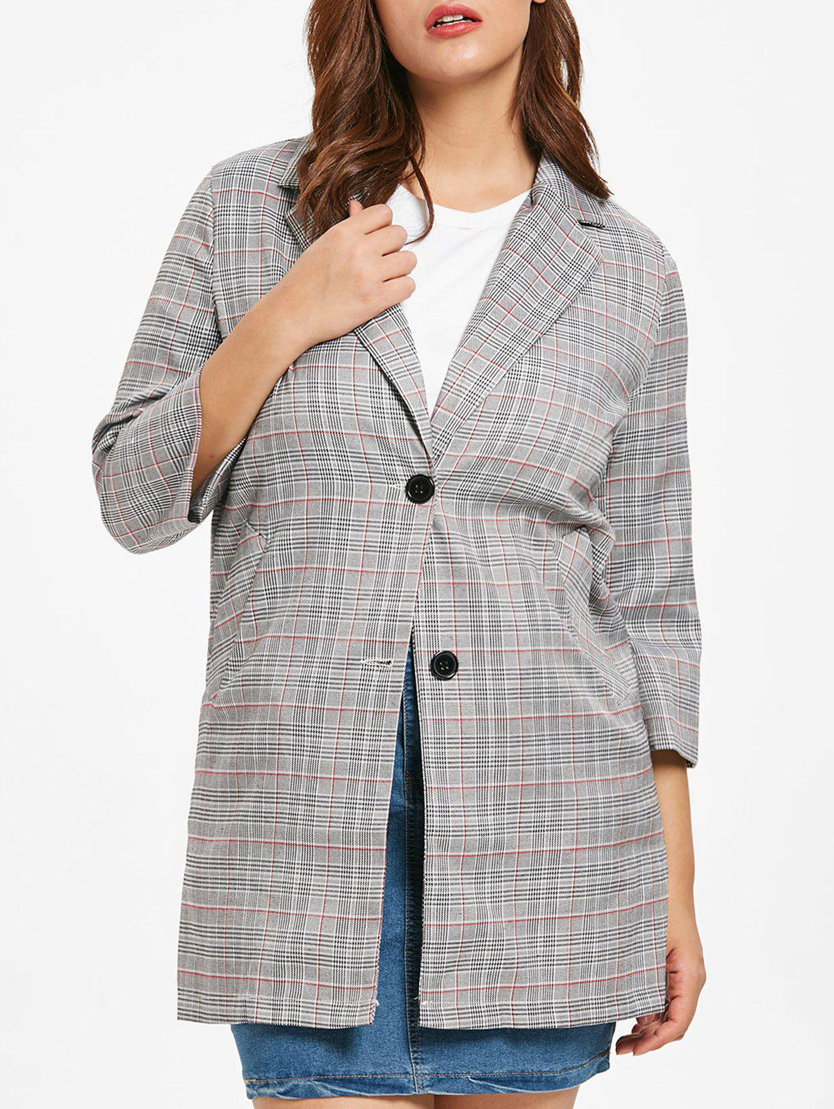 Plus Size Vintage Blazer Coat - LIGHT GRAY L