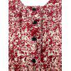 Plant Print Half Button Flare Dress - CHESTNUT RED L