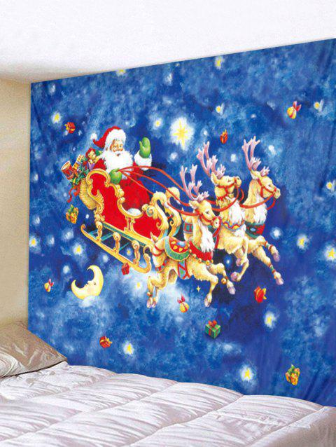 Christmas Santa and Sleigh Print Tapestry Art Decoration - multicolor W79 X L59 INCH