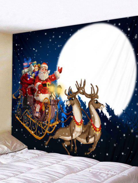 Christmas Santa and Gifts Print Wall Art Tapestry - DEEP BLUE W79 X L59 INCH