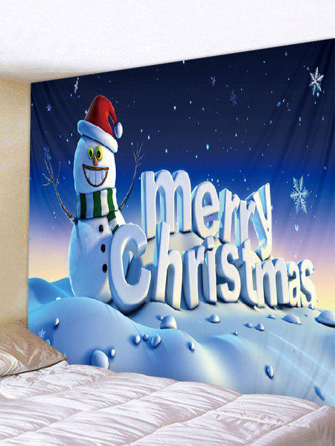 Merry Christmas Snowman Print Wall Tapestry Art Decoration - multicolor W59 X L51 INCH