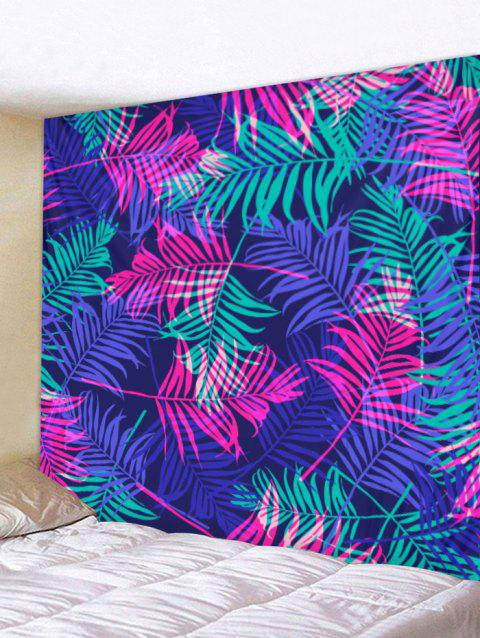 Tropical Leaves Print Wall Art Tapestry - BLUE W91 X L71 INCH