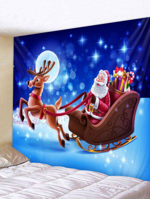Santa and Deer Print Christmas Wall Hanging Tapestry - BLUE W79 X L71 INCH