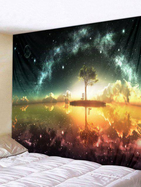 Star Sky Trees Print Wall Tapestry Art Decoration - multicolor W79 X L71 INCH