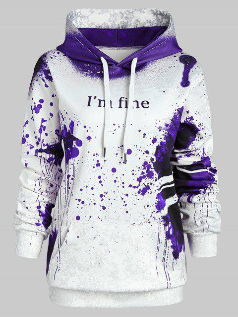 Plus Size Pullover Letter Pattern Halloween Hoodie - PURPLE 1X