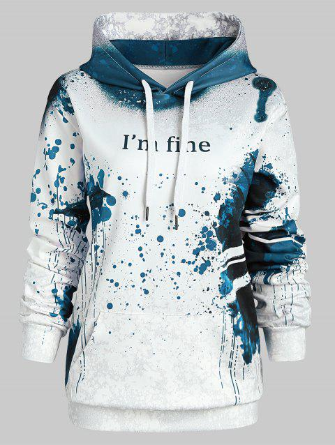 Plus Size Pullover Letter Pattern Halloween Hoodie - BLUE 3X