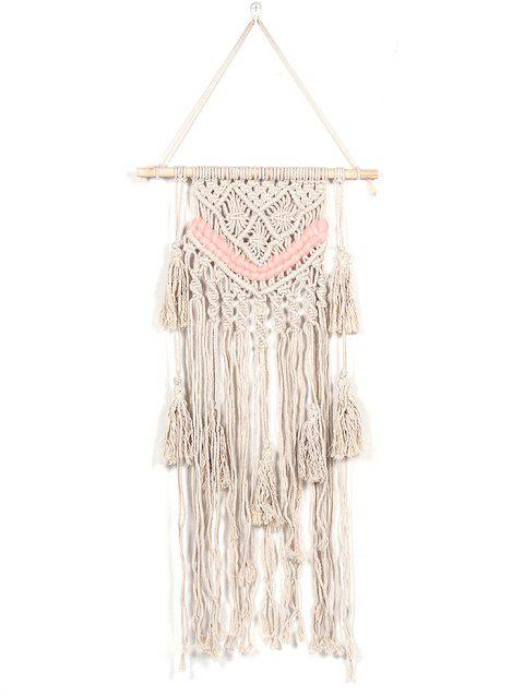 Crotchet Tasseled Macrame Wall Hanging Decoration - BEIGE
