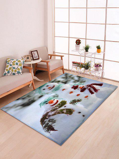 Snowman Print Christmas Decorative Bath Mat - multicolor W47 X L63 INCH