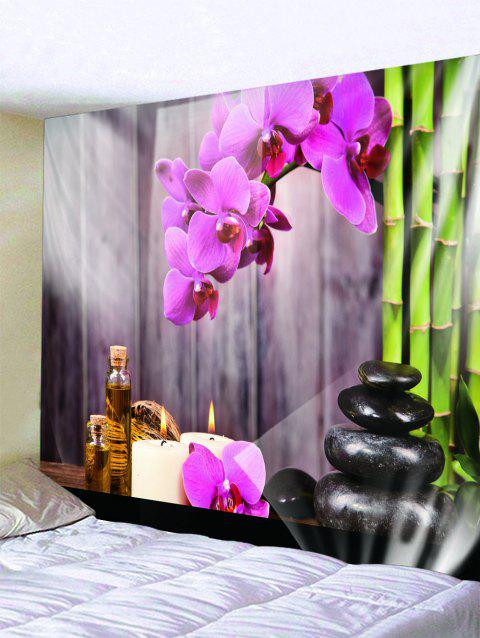 Flower Bamboo Wooden Planks Print Tapestry - multicolor W59 X L51 INCH
