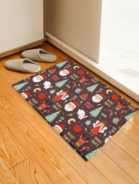 Christmas Santa and Tree Print Decorative Bath Mat - multicolor W24 X L35.5 INCH