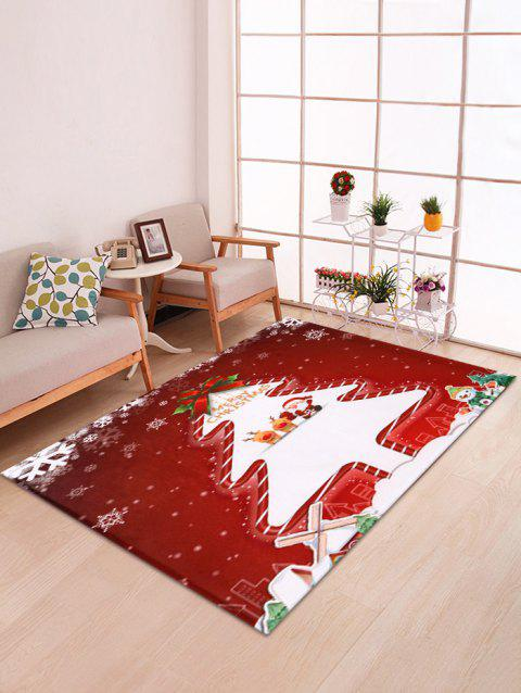 Christmas Santa and Tree Pattern Decorative Bath Mat - multicolor W47 X L63 INCH