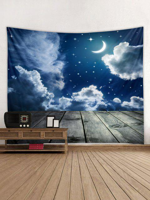 Clouds Sky Moon Print Tapestry Art Decoration - multicolor W91 X L71 INCH