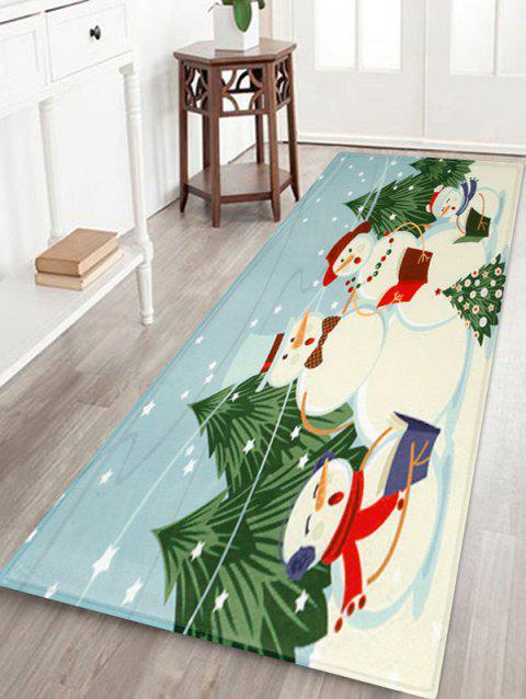 Christmas Snowman Print Decorative Bath Mat - multicolor W24 X L71 INCH