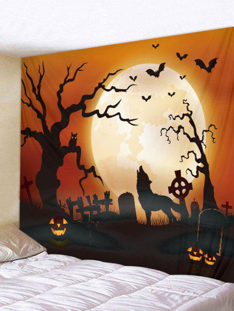 Halloween Wolf and Moon Print Tapestry Art Decoration - multicolor W91 X L71 INCH